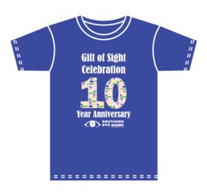 Gift of Sight Celebration T-Shirt - 10 Year Anniversary - Southern Eye Bank